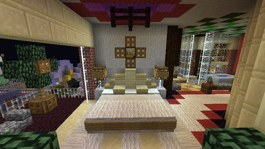 a large bed with unique pillows and a royal style corner compact fireplace minecraft building ideas modern - Minecraft Design Ideas